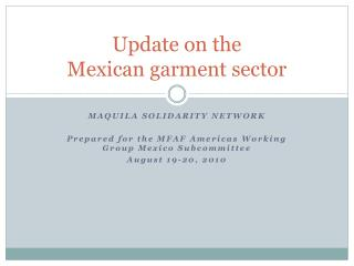 Update on the  Mexican garment sector