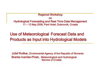 Use of Meteorological Forecast Data and Products as Input into Hydrological Models