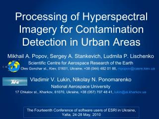 Processing of Hyperspectral Imagery for Contamination Detection in Urban Areas