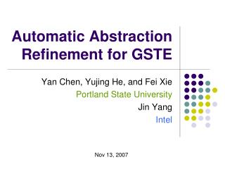 Automatic Abstraction Refinement for GSTE
