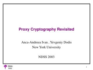 Proxy Cryptography Revisited