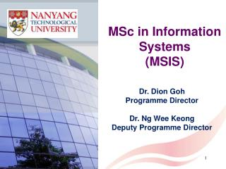 MSc in Information Systems (MSIS)