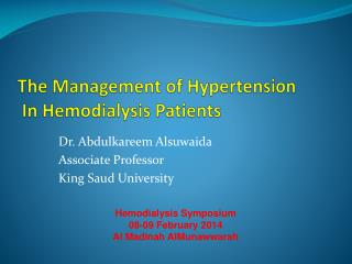The Management  of  Hypertension  In Hemodialysis Patients