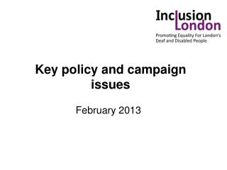 Key policy and campaign issues