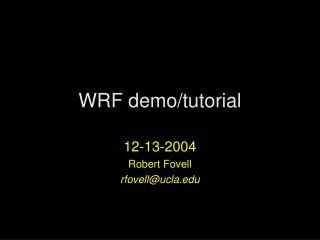 WRF demo/tutorial