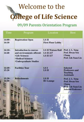 Welcome to the College of Life Science 09/09 Parents Orientation Program