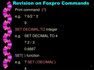 Revision on Foxpro Commands