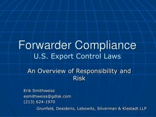 Forwarder Compliance  U.S. Export Control Laws