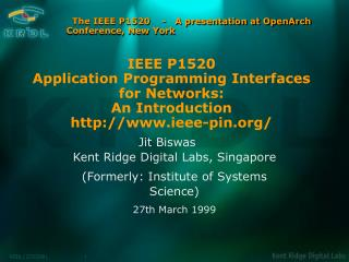 The IEEE P1520    -   A presentation at OpenArch Conference, New York