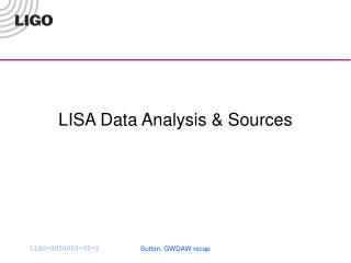 LISA Data Analysis & Sources