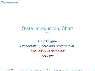 Stata Introduction, Short v2