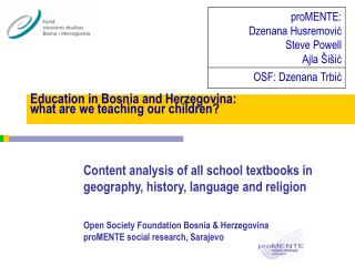 Education in Bosnia and Herzegovina:  what are we teaching our children?