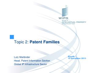 Topic 2:  Patent Families