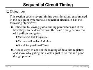 Sequential Circuit Timing