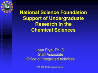 National Science Foundation Support of Undergraduate Research in the  Chemical Sciences