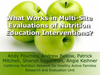 What Works in Multi-Site Evaluations of Nutrition Education Interventions?