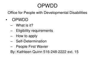 OPWDD Office for People with Developmental Disabilities