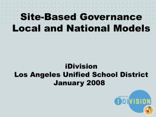 Site-Based Governance Local and National Models iDivision