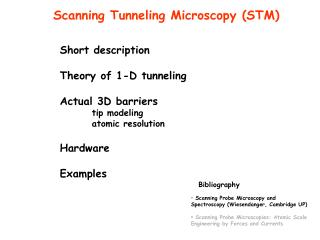 Short description Theory of 1-D tunneling Actual 3D barriers 	tip modeling 	atomic resolution
