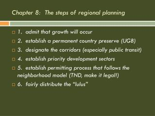 Chapter 8:  The steps of regional planning