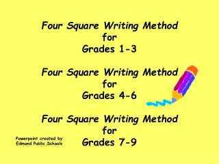 Four Square Writing Method for Grades 1-3  Four Square Writing Method for  Grades 4-6 Four Square Writing Method for Gra