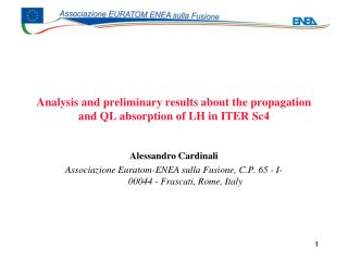 Analysis and preliminary results about the propagation and QL absorption of LH in ITER Sc4