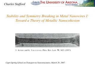 Stability and Symmetry Breaking in Metal Nanowires I:   Toward a Theory of Metallic Nanocohesion