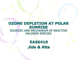 OZONE DEPLETION AT POLAR SUNRISE SOURCES AND MECHANISM OF REACTIVE HALOGEN SPECIES
