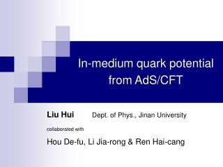 In-medium quark potential from AdS/CFT