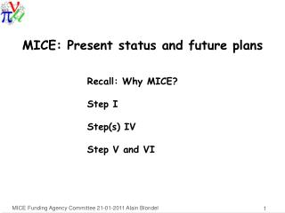 MICE: Present status and future plans