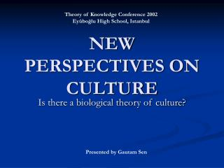 NEW PERSPECTIVES ON CULTURE