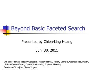 Beyond Basic Faceted Search