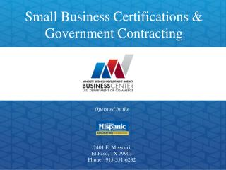 Small Business Certifications & Government Contracting