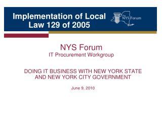 NYS Forum IT Procurement Workgroup