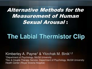 Alternative Methods for the Measurement of Human Sexual Arousal  :