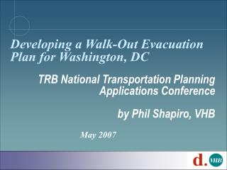Developing a Walk-Out Evacuation Plan for Washington, DC