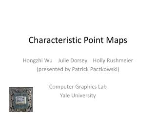 Characteristic Point Maps