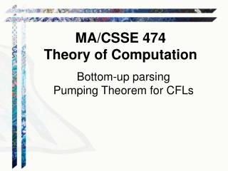 Bottom-up parsing Pumping Theorem for CFLs