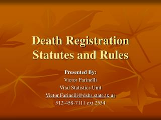 Death Registration Statutes and Rules