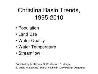 Christina Basin Trends, 1995-2010