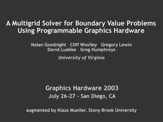 A Multigrid Solver for Boundary Value Problems Using Programmable Graphics Hardware