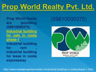 Industrial Building Resale Price 09810000375 Phase-1, Noida