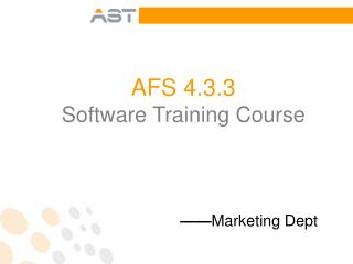 AFS 4.3.3  Software Training Course
