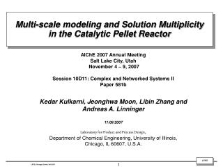 Multi-scale modeling and Solution Multiplicity  in the Catalytic Pellet Reactor