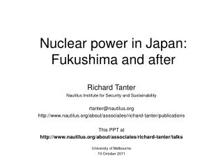 Nuclear power in Japan: Fukushima and after