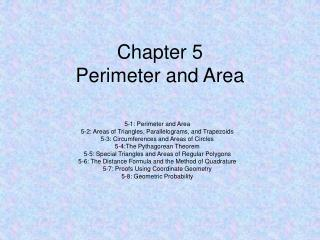 Chapter 5 Perimeter and Area