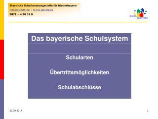 Staatliche Schulberatungsstelle für Niederbayern info@sbndb.de  –  sbndb.de 0871 – 4 30 31 0