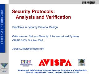 Security Protocols:    Analysis and Verification