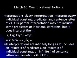 March 10: Quantificational Notions