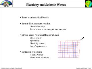 Elasticity and Seismic Waves
